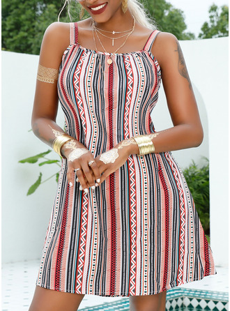 Print Striped Shift Sleeveless Mini Casual Vacation Type Dresses