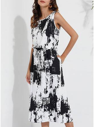 Print A-linjeklänning Ärmlös Maxi Fritids Elegant skater Modeklänningar