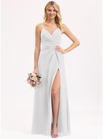 A-Line V-neck Floor-Length Chiffon Bridesmaid Dress With Ruffle Split Front
