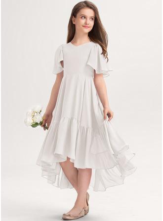 A-Linie V-Ausschnitt Asymmetrisch Chiffon Kleider für junge Brautjungfern mit Gestufte Rüschen
