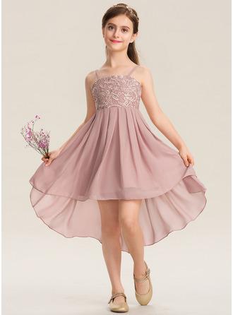 A-Line Square Neckline Asymmetrical Chiffon Lace Junior Bridesmaid Dress