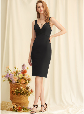 V-Neck Black Stretch Crepe Dresses