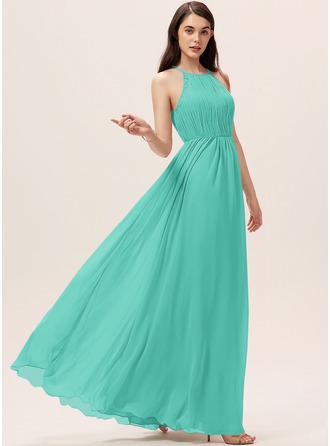 A-Line Scoop Neck Floor-Length Chiffon Bridesmaid Dress With Ruffle