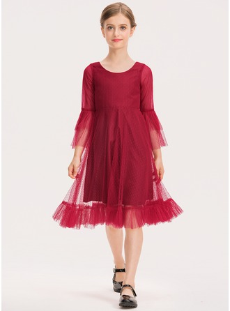 A-Linie U-Ausschnitt Knielang Tüll Kleid für junge Brautjungfern mit Gestufte Rüschen