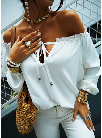 Solid Off the Shoulder Long Sleeves Casual