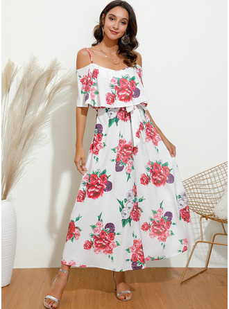 Midi Off the Shoulder Polyester Print 1/2 Sleeves/Cold Shoulder Sleeve Fashion Dresses