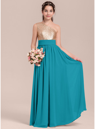 A-linjainen/Prinsessa Yksiolkaiminen Lattiaa hipova pituus Sifonki Nuorten morsiusneito mekko jossa Rypytys