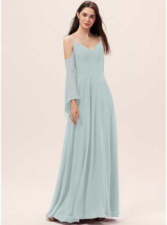 A-Line V-neck Floor-Length Chiffon Bridesmaid Dress