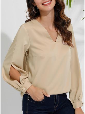 Solid V-Neck Long Sleeves Casual Elegant