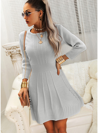 Solid 3/4 Sleeves Casual Dresses