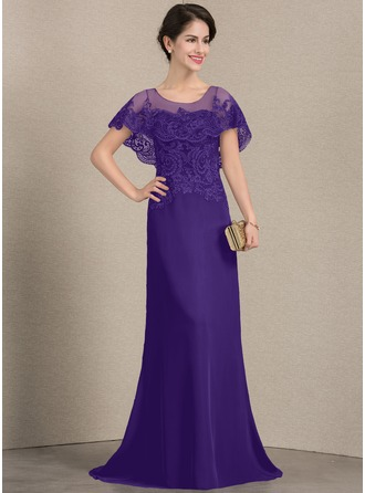 A-Linie/Princess-Linie U-Ausschnitt Sweep/Pinsel zug Chiffon Spitze Kleid für die Brautmutter