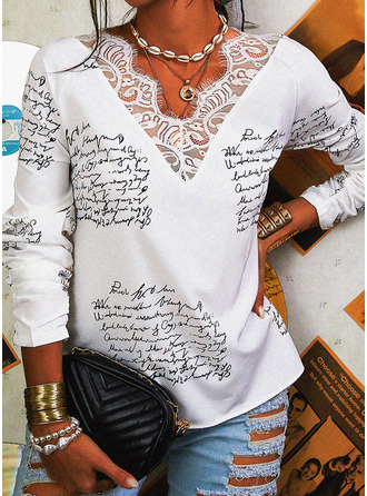 Figure Lace Print V-Neck Long Sleeves Casual Blouses