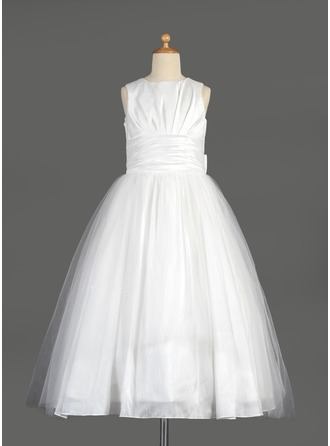 Empire Tea-length Flower Girl Dress - Taffeta/Tulle Sleeveless Scoop Neck With Bow(s)