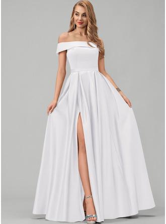 A-Line Off-the-Shoulder Floor-Length Satin Bridesmaid Dress With Split Front Pockets