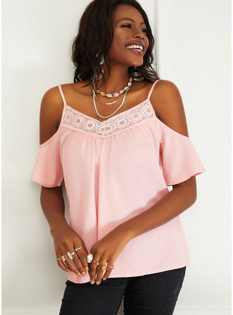 Lace Solid Cold Shoulder 1/2 Sleeves Casual Blouses