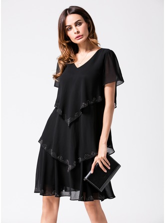 A-Line/Princess V-neck Knee-Length Polyester Cocktail Dress