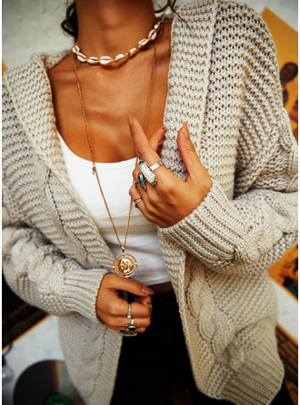 Casual Solid Cable-knit Chunky knit Sweaters
