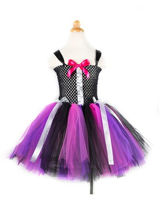 A-Line/Princess Short/Mini Flower Girl Dress - Tulle/Polyester Sleeveless Straps With Bow(s)