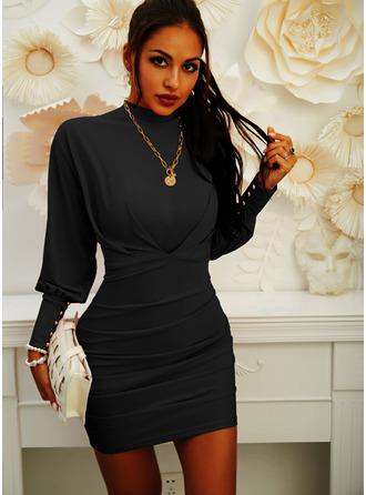 Einfarbig Figurbetont Laterne Ärmel Lange Ärmel Mini Kleine Schwarze Elegant Modekleider