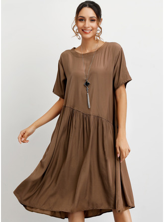 Sólido Vestidos soltos Manga Curta Midi Casual camiseta Vestidos na Moda