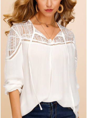 Lace V-Neck Long Sleeves Casual Elegant