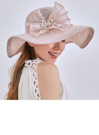 Damen Elegant/Einfache Leinen mit Faux-Perlen Strand / Sonne Hüte/Tea Party Hüte