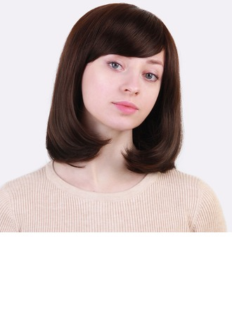 Kinky Straight Human Hair Blend Human Hair Wigs 130g