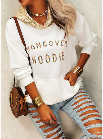 Sequins Leopard Figure Long Sleeves Hoodie