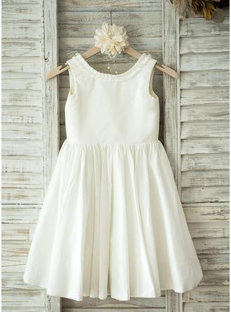 A-Line/Princess Knee-length Flower Girl Dress - Cotton Sleeveless Scoop Neck