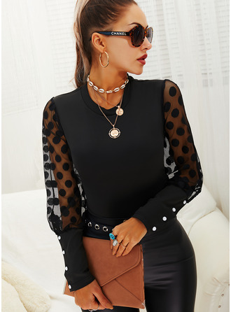 PolkaDot Solid Round Neck Long Sleeves Puff Sleeves Elegant Blouses