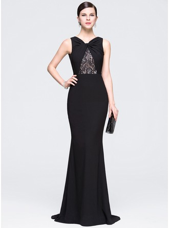 Trumpet/Mermaid V-neck Sweep Train Chiffon Evening Dress With Ruffle Lace Beading