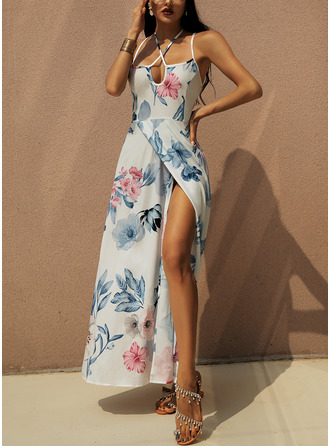 Maxi Spaghetti Straps Polyester Print Sleeveless Fashion Dresses