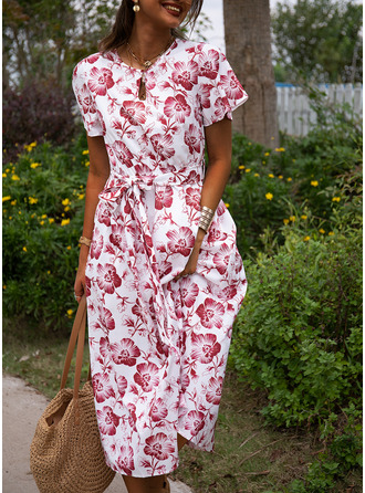 Floral Print A-line Short Sleeves Midi Casual Vacation Dresses
