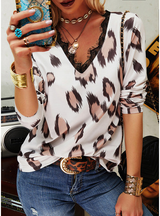 Leopard Lace V-Neck Long Sleeves Casual Blouses