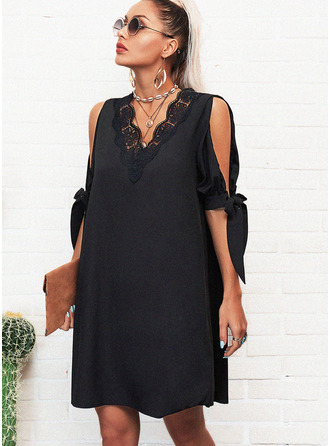 Lace Solid Shift 1/2 Sleeves Split Sleeve Mini Little Black Casual Tunic Dresses