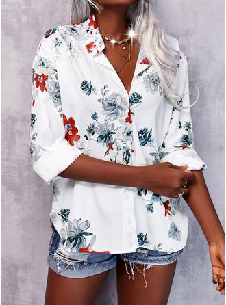 Floral Print Lapel 3/4 Sleeves Casual Elegant
