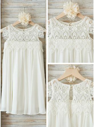 Empire Knee-length Flower Girl Dress - Chiffon/Lace Sleeveless Scoop Neck