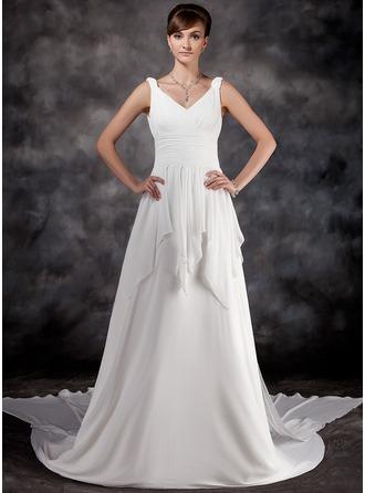 A-Line/Princess V-neck Watteau Train Chiffon Wedding Dress With Ruffle