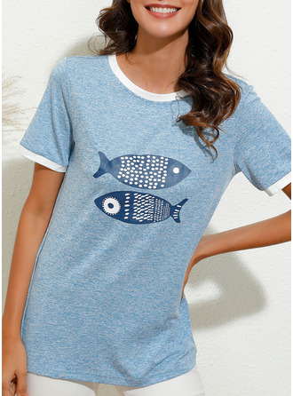 Animal Print Round Neck Short Sleeves Casual T-shirt