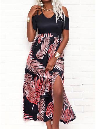Print Sheath Short Sleeves Maxi Casual Vacation Dresses