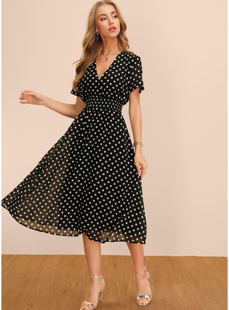 Knee Length V neck Polyester PolkaDot Short Sleeves Fashion Dresses