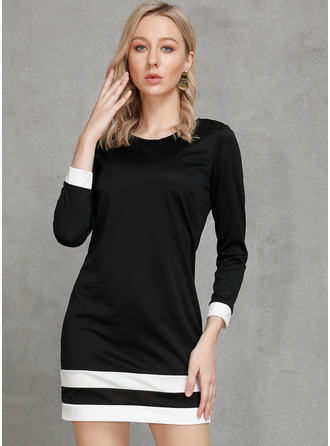 Striped Shift Long Sleeves Mini Little Black Casual Tunic Dresses