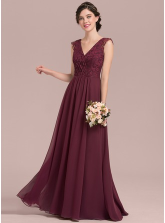 A-Line/Princess V-neck Floor-Length Chiffon Lace Bridesmaid Dress With Ruffle