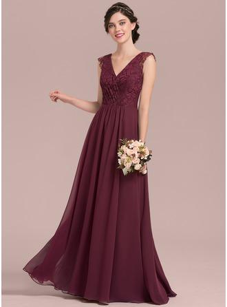 Трапеция/Принцесса V-образный Длина до пола шифон Кружева Платье Подружки Невесты с Рябь