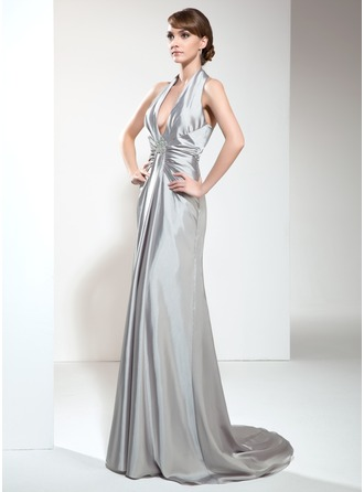 A-Line/Princess Halter Sweep Train Charmeuse Evening Dress With Ruffle Beading