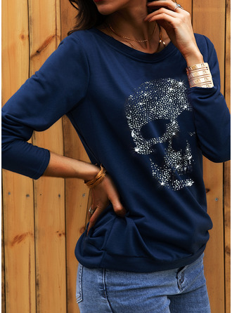Print Sequins One Shoulder Long Sleeves Sweatshirt