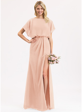 Chiffon Bridesmaid Dress With Ruffle Split Front