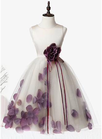 A-Line/Princess Knee-length Flower Girl Dress - Organza/Satin/Tulle Sleeveless Scoop Neck With Flower(s)