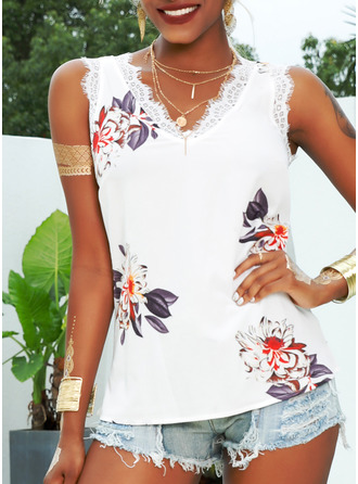 Floral Lace Print V-Neck Sleeveless Casual Tank Tops