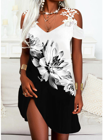 Color Block Floral Print A-line Short Sleeves Mini Casual Vacation Skater Dresses